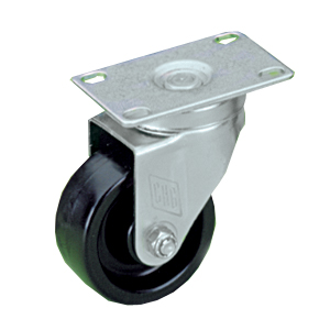 Plate Casters with Black Polyolefin Wheels