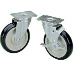 Plate Casters with Dark Blue Polyurethane Wheels