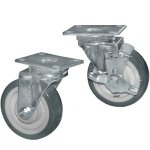 Plate Casters with Grey Polyurethane Wheels