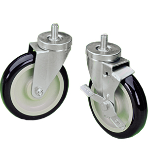 Stem Casters with Dark Blue Polyurethane Wheels